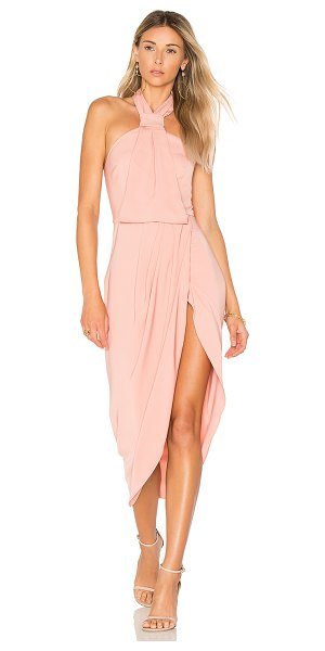Shona Joy Knot Draped Dress in pink - 100% poly. Hand wash cold. Unlined. Buttoned halter...