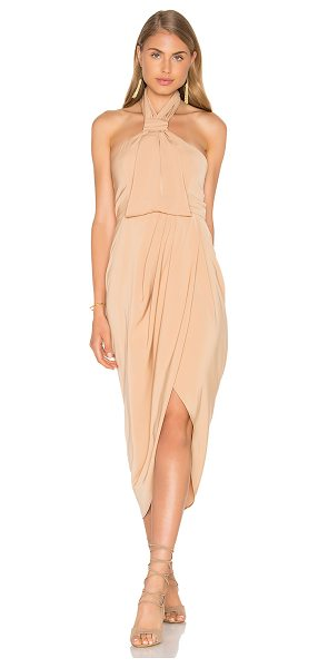 Shona Joy Knot Draped Dress in tan - 100% poly. Hand wash cold. Fully lined. Neck button...
