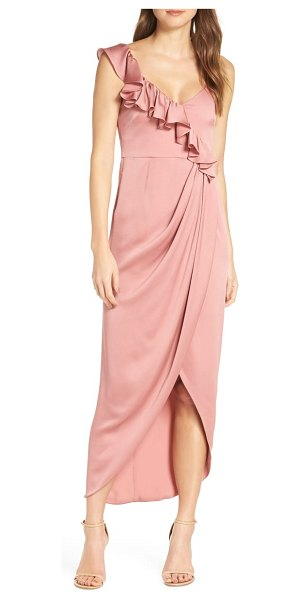 Shona Joy luxe asymmetrical frill maxi dress in pink