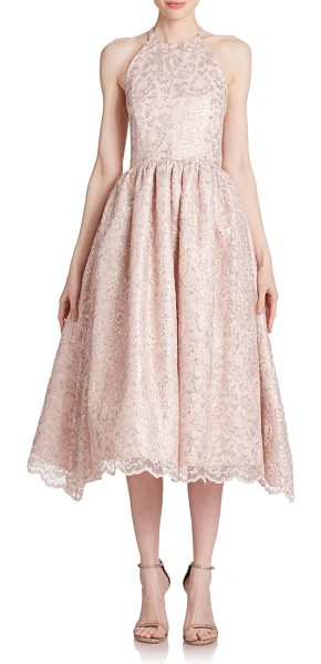 Shoshanna Midnight alegria lace halter dress in blush - Shimmering floral lace complements this elegant halter...