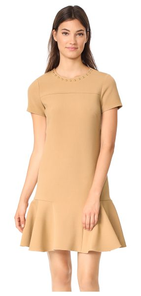Shoshanna ashgrove dress in camel - Gold-tone resin beads accent the neckline of this luxe...