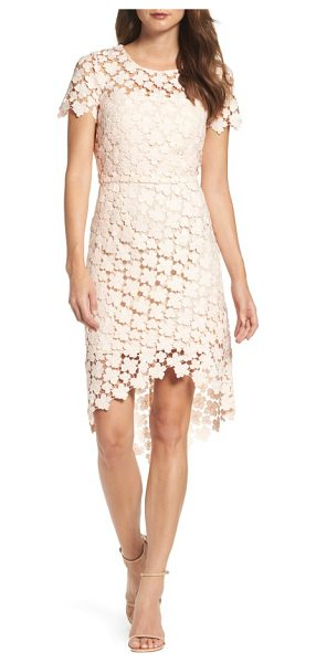 Shoshanna baylor lace sheath dress in blush - Crocheted daisies lighten the look and feel of a...