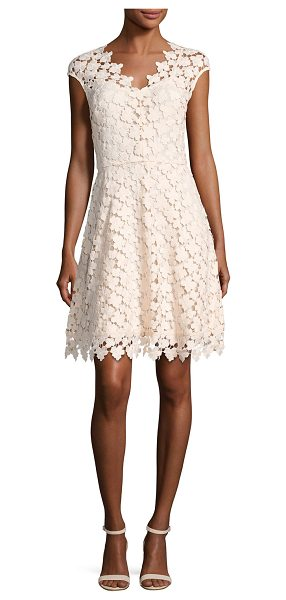 "Shoshanna Buchanan Cap-Sleeve Floral Lace Dress in pink pattern - Shoshanna ""Buchanan"" dress in floral guipure lace...."