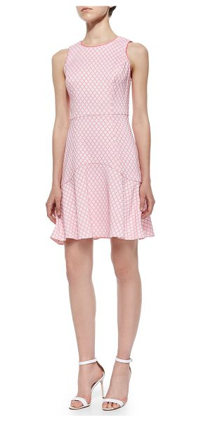 "Shoshanna Eden Sleeveless Jacquard Flounce Dress in rose/ivory - Shoshanna ""Eden"" diamond jacquard dress. Approx...."