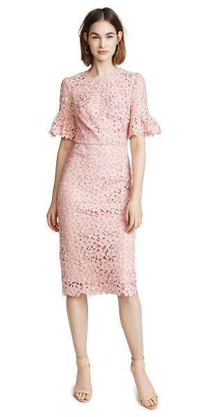 Shoshanna flare sleeve dress in pink - Fabric: Lace Scalloped hem Ruffly cuffs Sheath dress...