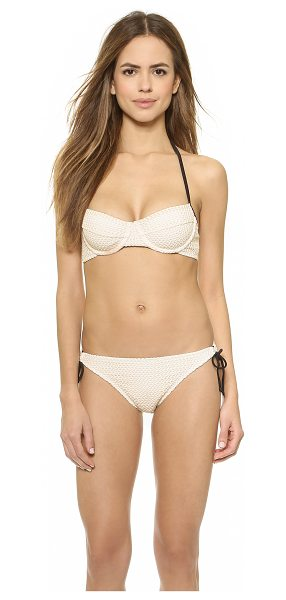 Shoshanna Natural crochet halter bikini top in natural - Eyelet embroidery details this sweet Shoshanna bikini...