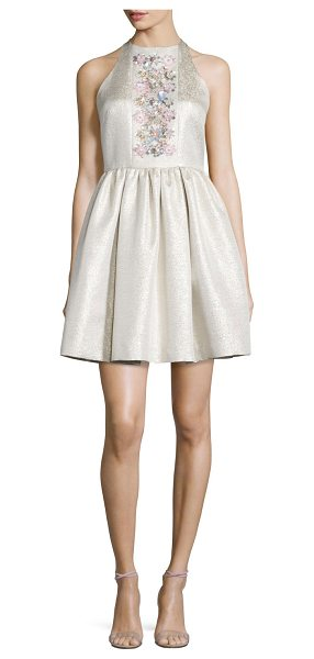 Shoshanna Sleeveless Floral-Center Party Dress in white gold - Shoshanna shimmery jacquard party dress embellished with...