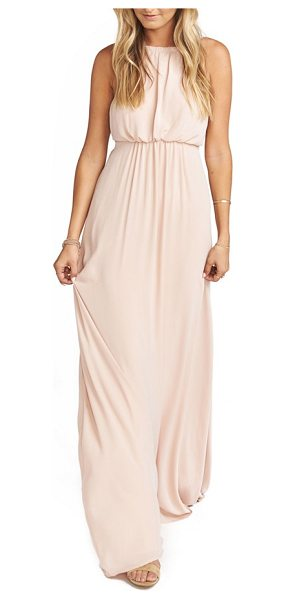 Show Me Your Mumu amanda open back blouson gown in dusty blush crisp - A halter-inspired bodice flaunts a daringly open back to...