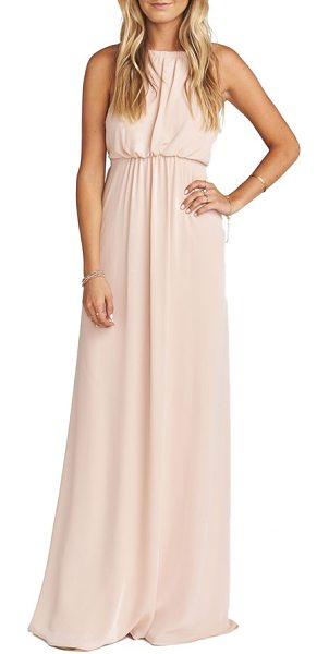 SHOW ME YOUR MUMU amanda open back blouson gown - A halter-inspired bodice flaunts a daringly open back to...