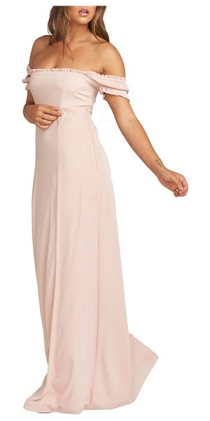 Show Me Your Mumu brittany blouson gown in pink - A simple, feminine style, this gown features ruffled cap...