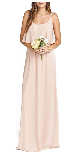 Show Me Your Mumu caitlin cold shoulder chiffon gown in pink - This flirty, floaty gown has a ruffled bodice overlay...