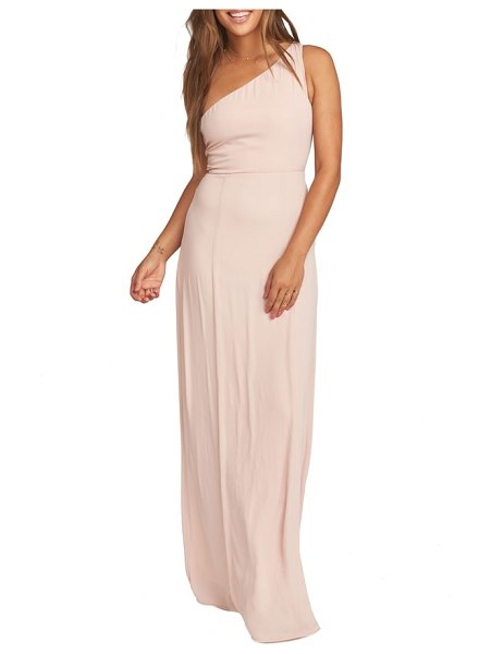 Show Me Your Mumu eliza one-shoulder gown in pink - A blouson one-shoulder bodice tops a flowing,...