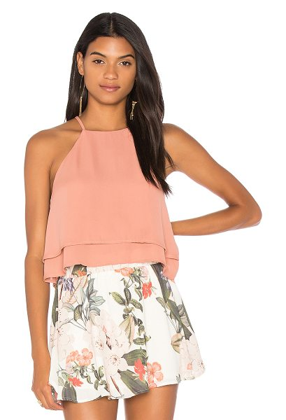 SHOW ME YOUR MUMU Evie Crop Top - Poly blend. Dry clean only. Layered bodice. Back keyhole...