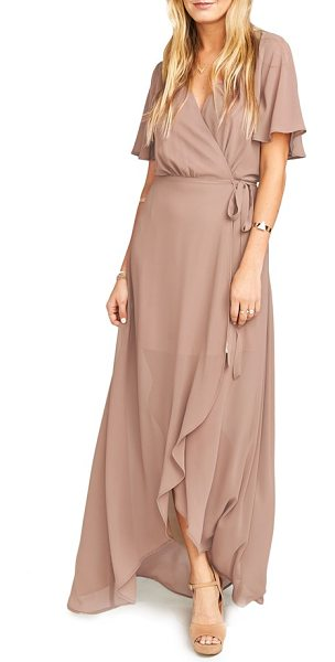 Show Me Your Mumu sophia wrap dress in dune - Floaty wrap styling highlights the ethereal nature of a...