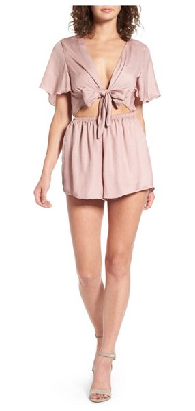 Show Me Your Mumu gia tie waist romper in petal pink silky satin - Make a retro impression at your next weekend...