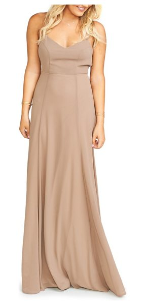 Show Me Your Mumu godshaw chiffon gown in dune - Dainty straps weave a tale of playful romance across the...