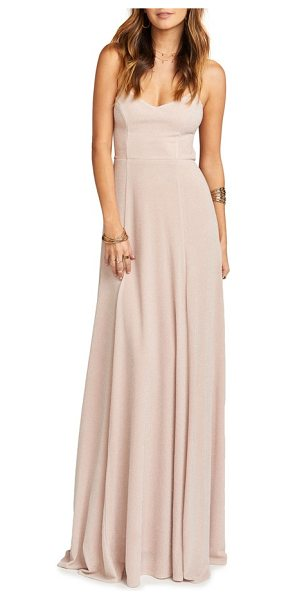 Show Me Your Mumu godshaw open back gown in dancing queen shine blush - Crisscrossed ties lace across the open back of this...