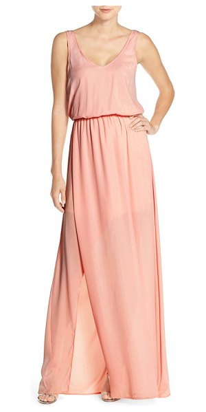 Show Me Your Mumu kendall soft v-back a-line gown in frosty pink crisp - Draping beautifully off the body in fluid chiffon, this...