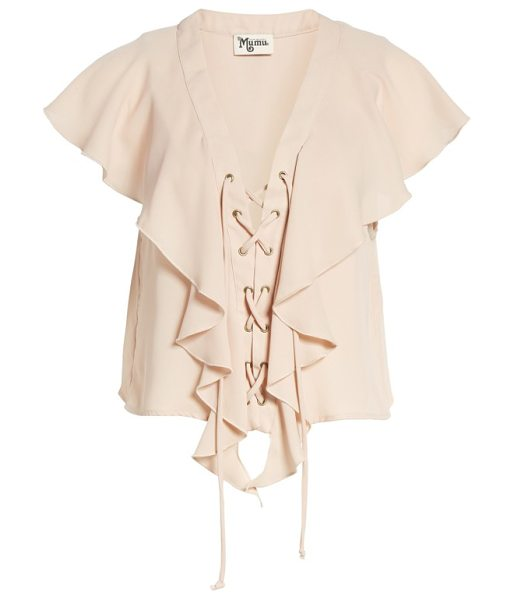 Show Me Your Mumu lace-up blouse in dusty blush - Breezy ruffles and bold stripes charm a laid-back blouse...