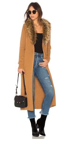 SHOW ME YOUR MUMU Lombardi Long Cardigan - Self: 60% cotton 40% acrylicTrim: 100% acrylic faux fur....