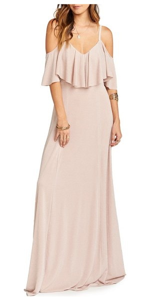 Show Me Your Mumu renee ruffle gown in dancing queen shine blush - A fluttery ruffle floats over the bodice of this...
