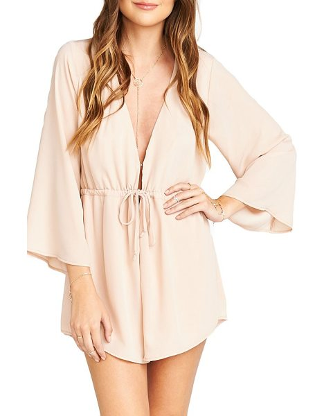 Show Me Your Mumu roxy plunging tie waist romper in dusty blush crisp - With a cut-to-there neckline and leg-flaunting shorts, a...