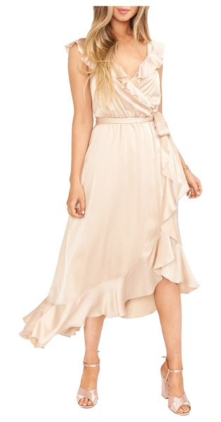 Show Me Your Mumu samantha ruffle satin high/low faux wrap dress in beige