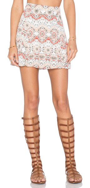 "Show Me Your Mumu Slit mini skirt in coral - Poly blend. Skirt measures approx 16"""" in length. Fully..."