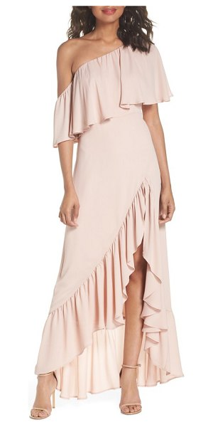 Show Me Your Mumu tango ruffle gown in pink - Angled to accentuate a sublime shoulder and a lovely...