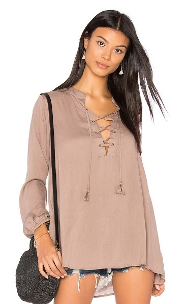 SHOW ME YOUR MUMU Thatcher Tie Top - Poly blend. Hand wash cold. Lace-up front with tie...