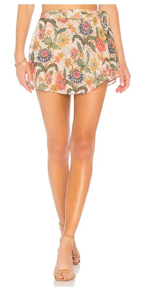 """Show Me Your Mumu The Great Wrap Shorts in cream - """"Poly blend. Hand wash cold. Elasticized waist. Skirt..."""