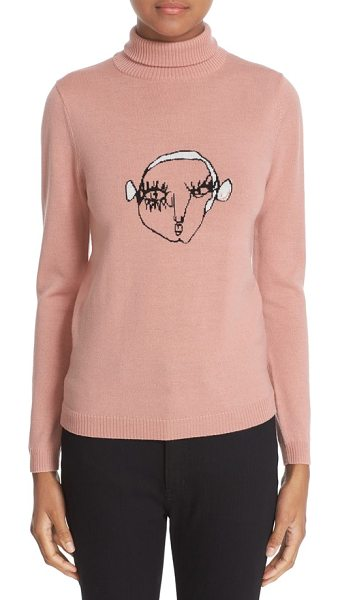 SHRIMPS 'marion' wool turtleneck sweater in rose intarsia - An intarsia-knit face peers out from the chest of a...