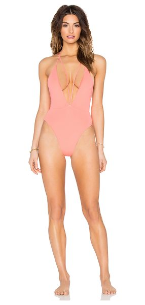 siempre golden Trestles Swimsuit in coral - Nylon blend. Hand wash cold. Elastic stretch fit....