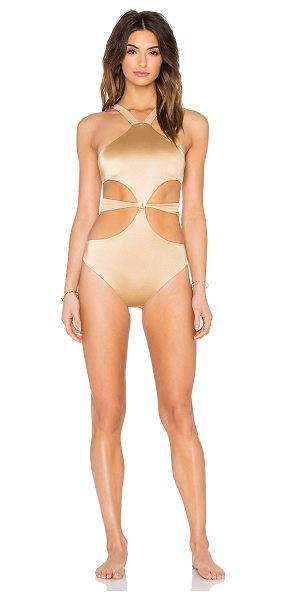 siempre golden Windansea swimsuit in metallic gold - Nylon blend. Hand wash cold. Elastic stretch fit. Double...
