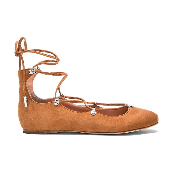 Sigerson Morrison Elias Flat in cognac - Suede upper with leather sole. Lace-up front with wrap...