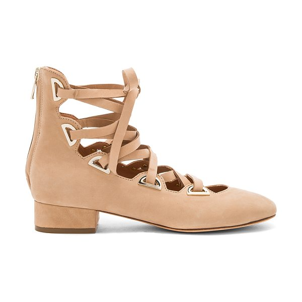 Sigerson Morrison Hea Heel in tan - Velvet suede upper with leather sole. Back zip closure....