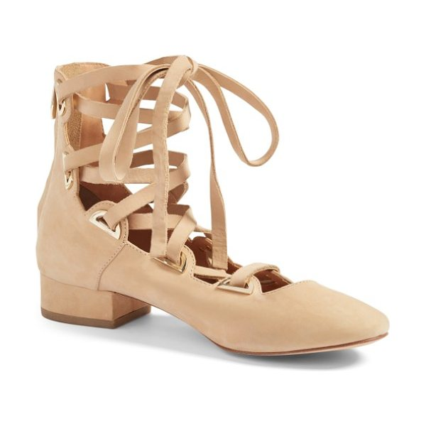 Sigerson Morrison hea lace-up pump in ecru - Ballerina style with a bit of edge defines a block-heel...