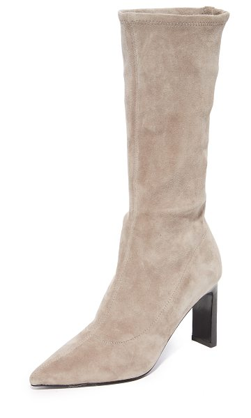 Sigerson Morrison holly mid calf boots in taupe - A shaft of stretch suede adds formfitting style to these...