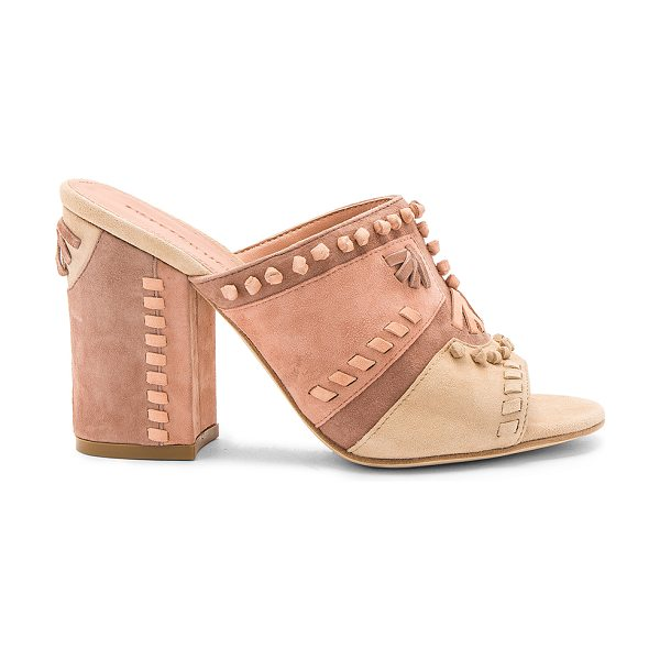 Sigerson Morrison Philip Heel in blush - Suede upper with leather sole. Slip-on styling. Knotted...