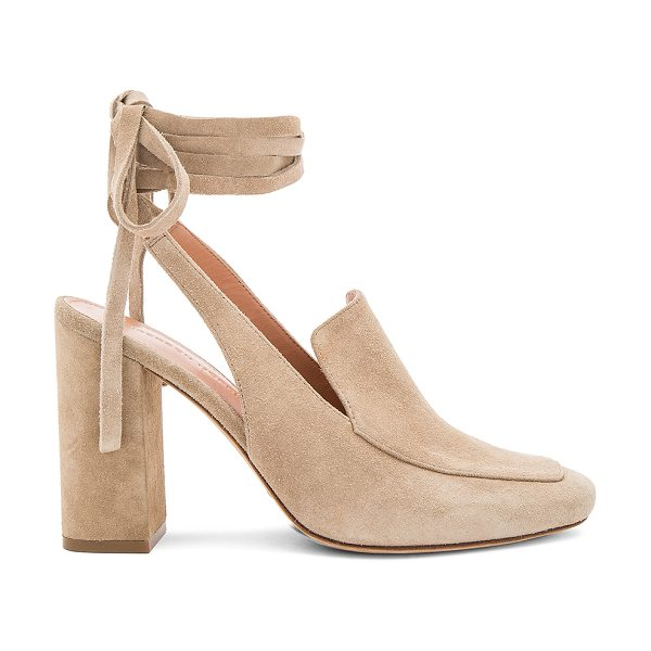 Sigerson Morrison Posie Heel in taupe - Suede upper with leather sole. Wrap ankle with tie...