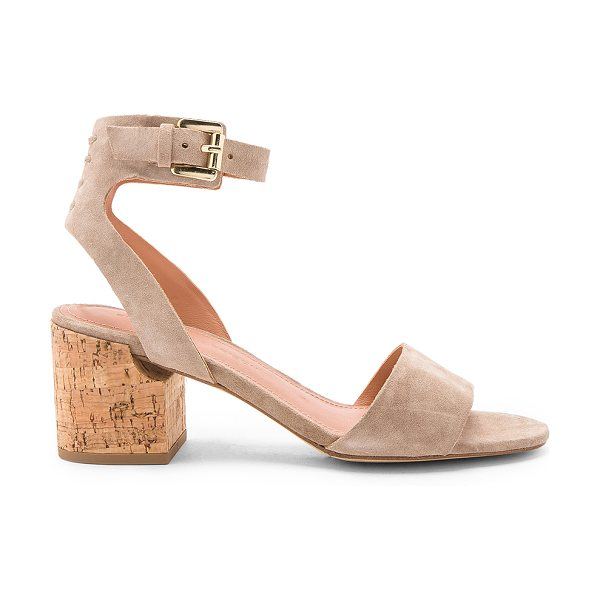 Sigerson Morrison Riva 2 Heel in taupe - Suede upper with leather sole. Ankle strap with buckle...