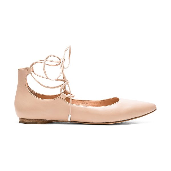 Sigerson Morrison Viata in beige - Leather upper and sole. Lace-up front with wrap tie...
