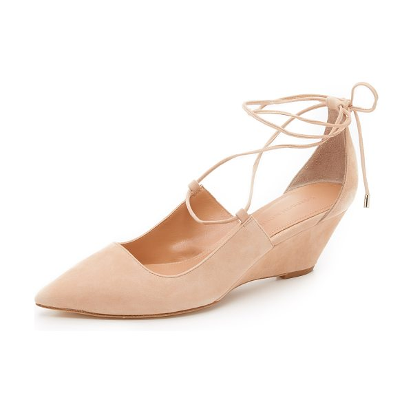 Sigerson Morrison Wynne wedge pumps in blush - Side cutouts update these suede, pointed toe Belle by...
