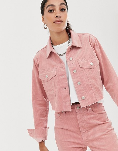 Signature 8 cropped trucker jacket-pink in pink
