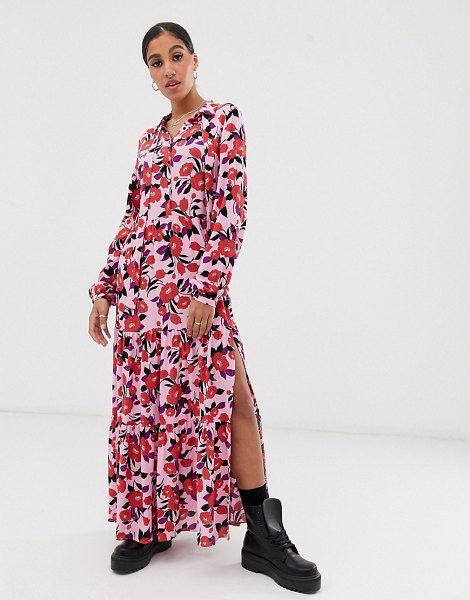 Signature 8 rose print midi dress-pink in pink