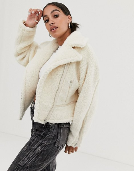 Signature 8 teddy cropped aviator jacket in cream