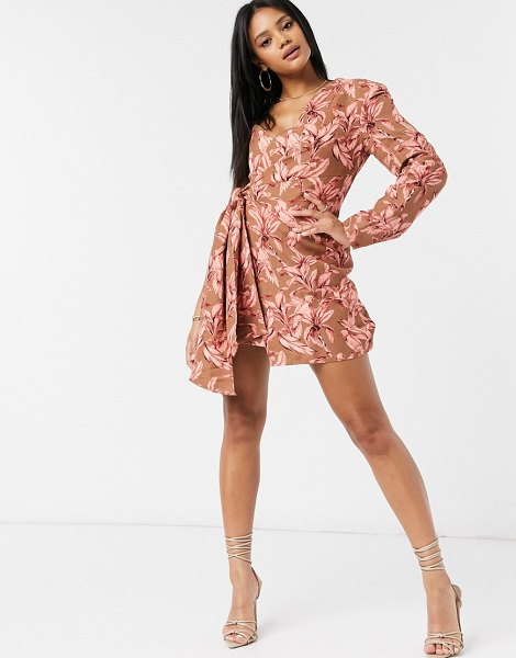 Significant Other eva one shoulder printed mini dress in chestnut palm-pink in pink