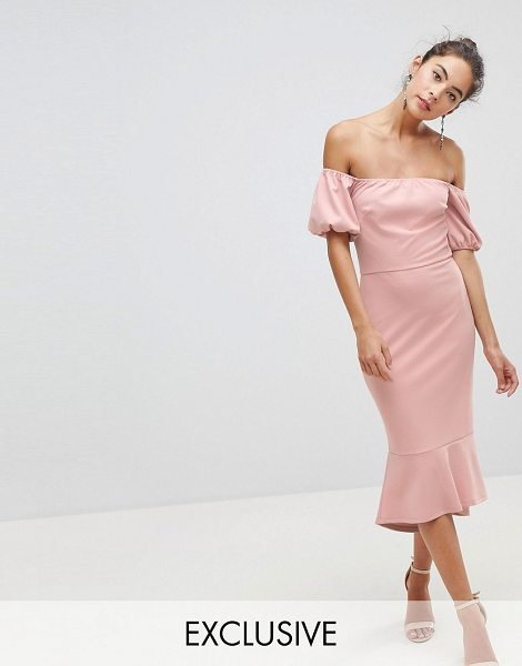 Silver Bloom puff sleeve bardot dress with pephem in duskypink - Dress by Silver Bloom, For that thing you have to go to,...
