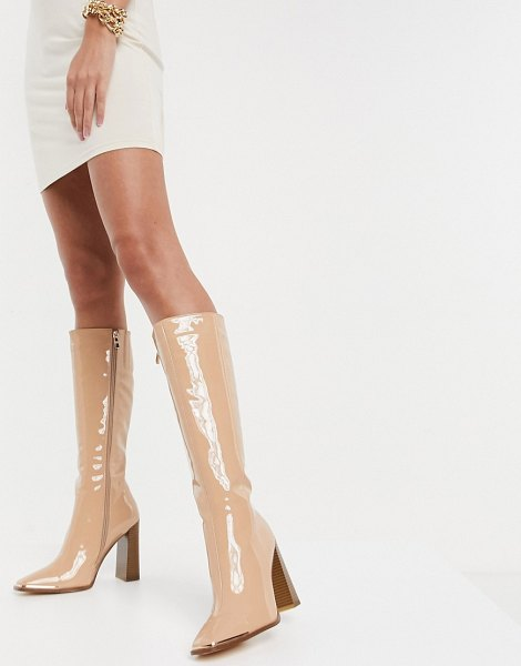 SIMMI Shoes simmi london melisa knee boots with metal plating in beige patent in beige