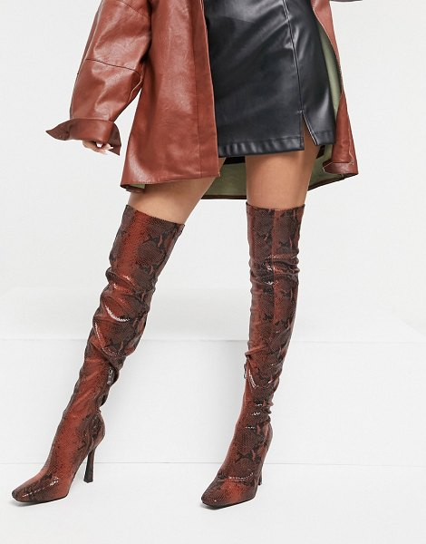 SIMMI Shoes simmi london minar over the knee boots in brown snake in brown